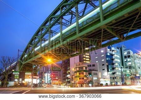 Akihabara Electric Town, Tokyo, Kanto Region, Honshu, Japan - April 15, 2010: Illuminated Buildings