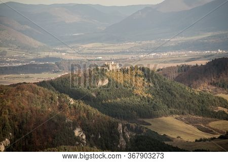 View To Lietavsky Hrad Castle Ruins From Hiking Trail Bellow Kecka Hill In Autumn Sulovske Vrchy Mou