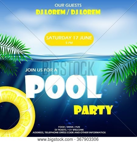Summer Pool Party Poster Template. Vector Illustration With Deep Underwater Ocean Scene. Water And P