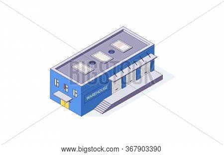 Isometric Warehouse Storage Storehouse Building. Delivery Shipping Depot And Interior Vector Illustr