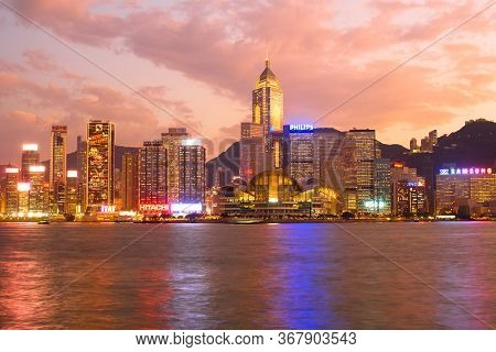 Victoria Harbour, Hong Kong Island, Hong Kong, China, Asia - December 02, 2008: Skyline Of Skyscrape