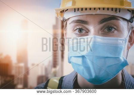 Coronavirus Covid-19 Health Protective Of New Normal, Portrait Attractive Of Engineer Woman In Safet