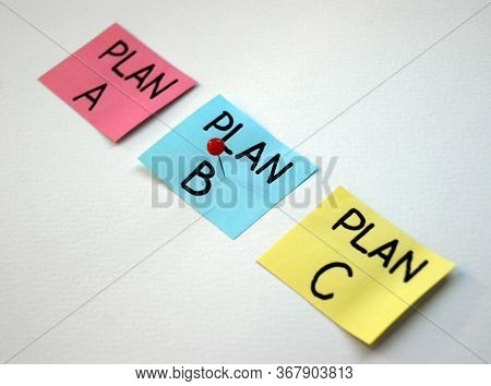 Plan A, B, C On Multi-colored Office Stickers. Planning, Management, Employment, Business. Concept O