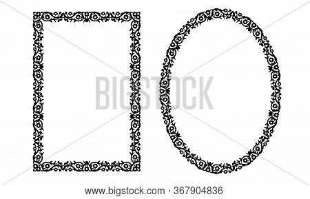 Photo Frame. Decorative Oval And Rectangle Template For Design. Vector Geometric Vintage Metal Eleme