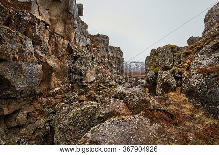 Thingvellir landscape, fault lines making rift valleys as a result of continental drift