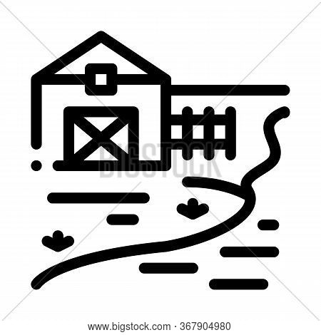 River Landscape In Countryside Icon Vector. River Landscape In Countryside Sign. Isolated Contour Sy
