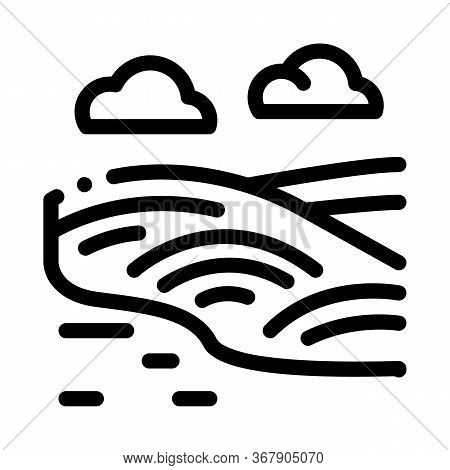 Raking Current River Icon Vector. Raking Current River Sign. Isolated Contour Symbol Illustration