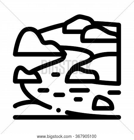 River Landscape With Hills Icon Vector. River Landscape With Hills Sign. Isolated Contour Symbol Ill
