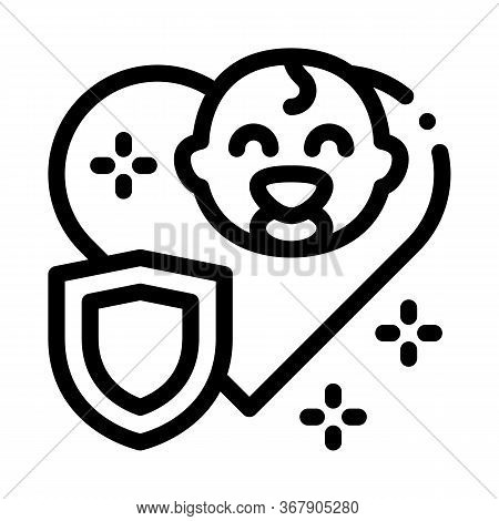 Baby Immunity Protection Icon Vector. Baby Immunity Protection Sign. Isolated Contour Symbol Illustr