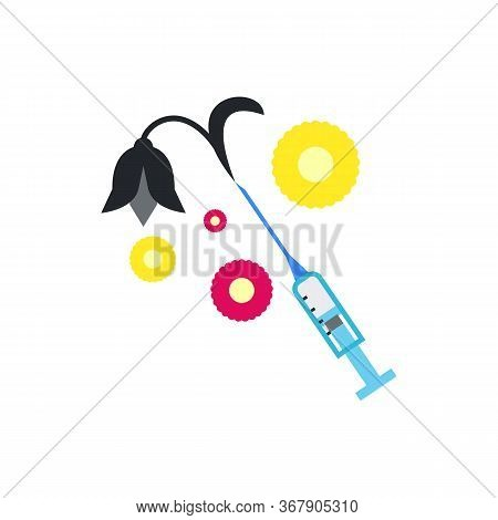 Icon Of Syringe With Black Slack Flower. Drug, Death, Addiction. Narcotic Concept. Can Be Used For T