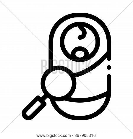 Study Examining Newborn Baby Icon Vector. Study Examining Newborn Baby Sign. Isolated Contour Symbol
