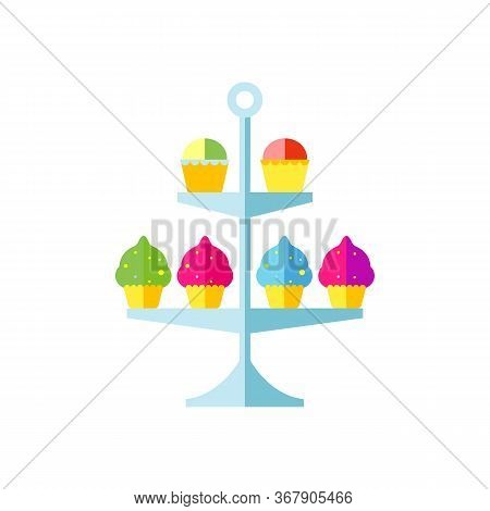 Icon Of Cake Stand With Cupcakes. Sweet Food, Sweetshop, Confectionery. Dessert Concept. Can Be Used