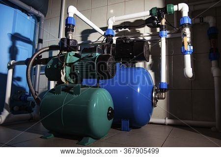 Water Centrifugal Pump And Motor Line With Pipe.