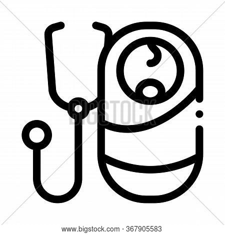 Listen To Breath Of Newborn Baby Icon Vector. Listen To Breath Of Newborn Baby Sign. Isolated Contou