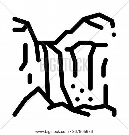 Mountain Ravines Icon Vector. Mountain Ravines Sign. Isolated Contour Symbol Illustration