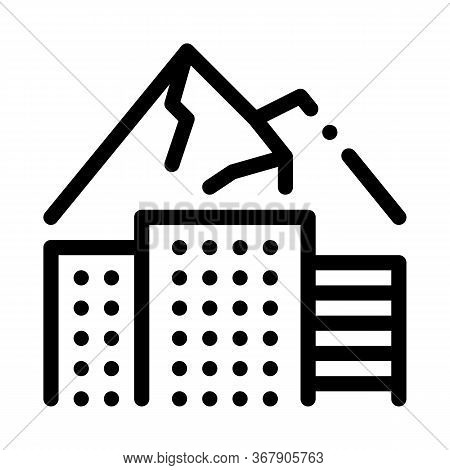 High-rise Buildings Among Mountains Icon Vector. High-rise Buildings Among Mountains Sign. Isolated