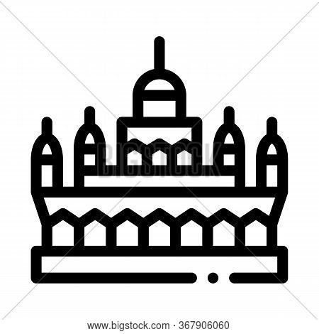 Masjid Jame Mosque Icon Vector. Masjid Jame Mosque Sign. Isolated Contour Symbol Illustration