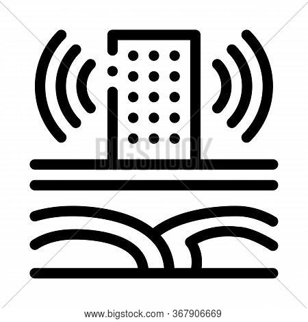 Seismic Wave High-rise Building Icon Vector. Seismic Wave High-rise Building Sign. Isolated Contour