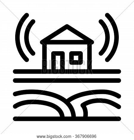 Seismic Wave Residential Building Icon Vector. Seismic Wave Residential Building Sign. Isolated Cont