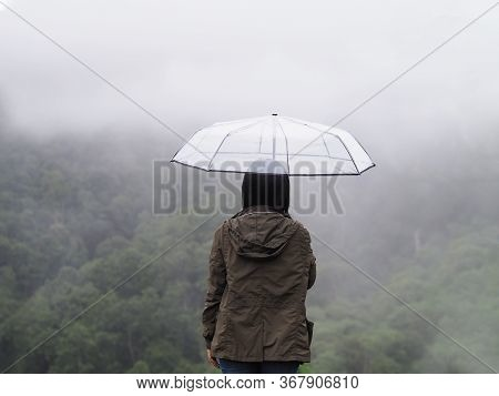 Back View Happy Woman Tourist Hold Umbrella Over Green Rain Forest At High Mountain In Phetchabun Pr