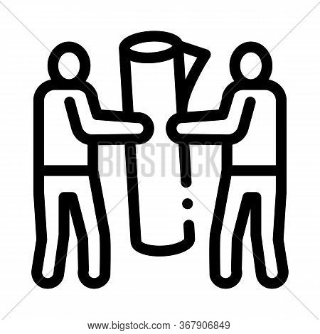 People Carry Rolled Carpet Icon Vector. People Carry Rolled Carpet Sign. Isolated Contour Symbol Ill
