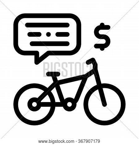 Payment For Using Bicycle Icon Vector. Payment For Using Bicycle Sign. Isolated Contour Symbol Illus