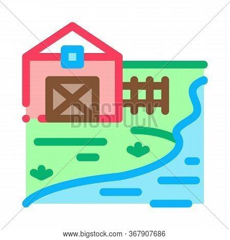 River Landscape In Sunny Weather Icon Vector. River Landscape In Sunny Weather Sign. Color Symbol Il