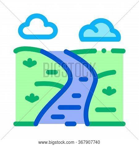 Long River Icon Vector. Long River Sign. Color Symbol Illustration