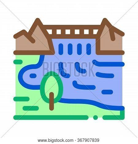 Boat In River Landscape Icon Vector. Boat In River Landscape Sign. Color Symbol Illustration