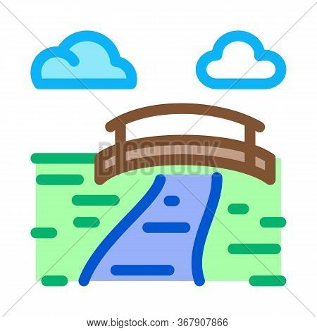 Flowing River Among Coniferous Forests Icon Vector. Flowing River Among Coniferous Forests Sign. Col
