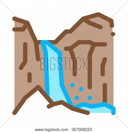 Mountain Ravines Icon Vector. Mountain Ravines Sign. Color Symbol Illustration