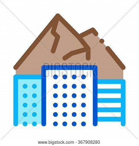 High-rise Buildings Among Mountains Icon Vector. High-rise Buildings Among Mountains Sign. Color Sym