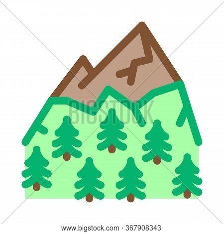 Mountain Landskape With Vegetation Icon Vector. Mountain Landskape With Vegetation Sign. Color Symbo