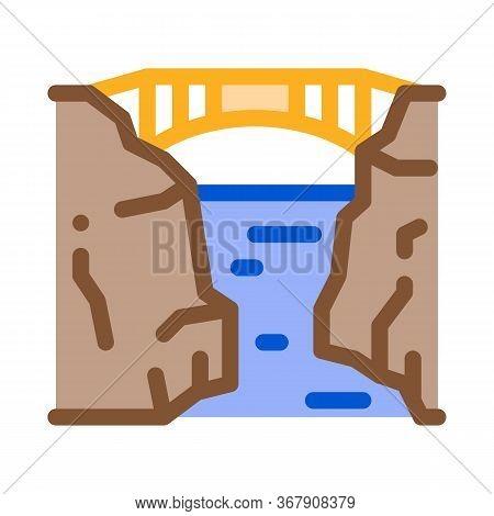 Bridge Mountain Landscape Icon Vector. Bridge Mountain Landscape Sign. Color Symbol Illustration