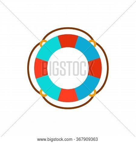 Icon Of Colorful Life Preserver. Sea, Voyage, Traveling. Vacation Concept. Can Be Used For Topics Li