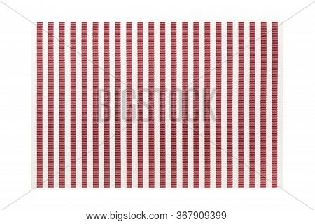 Top View Of Isolated Red Striped Placemat For Food. Empty Space For Your Design