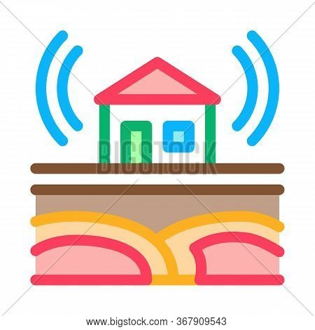 Seismic Wave Residential Building Icon Vector. Seismic Wave Residential Building Sign. Color Symbol