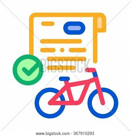 Contract For Temporary Use Of Bicycle Icon Vector. Contract For Temporary Use Of Bicycle Sign. Color