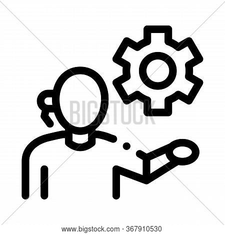 Help Desk Phone Settings Icon Vector. Help Desk Phone Settings Sign. Isolated Contour Symbol Illustr