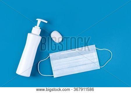 Hand Sanitizer Alcohol Gel Rub, Soap And Protective Face Mask Hygiene Prevention Of Coronavirus Viru