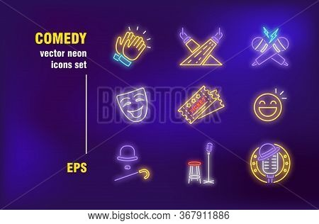 Comedy Neon Signs Set. Standup, Applause, Stage, Microphone Battle, Theatre Mask, Comic Actor. Night