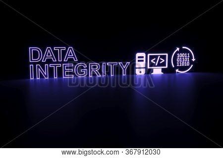 Data Integrity Neon Concept Self Illumination Background 3d Illustration