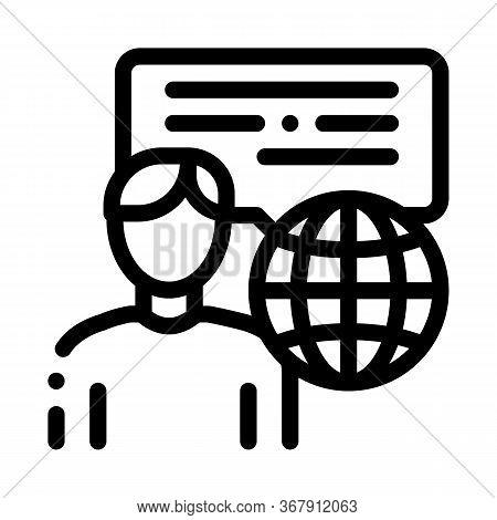 Travel Company Representative Icon Vector. Travel Company Representative Sign. Isolated Contour Symb