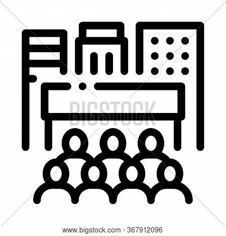 People Tourists On Excursions Icon Vector. People Tourists On Excursions Sign. Isolated Contour Symb
