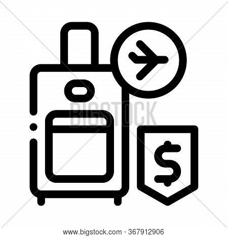 Purchase Suitcases With Handle Duty Free Icon Vector. Purchase Suitcases With Handle Duty Free Sign.