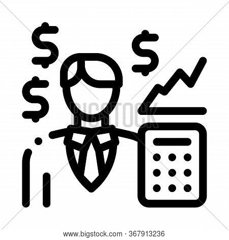 Realtor Transfers Profit Icon Vector. Realtor Transfers Profit Sign. Isolated Contour Symbol Illustr