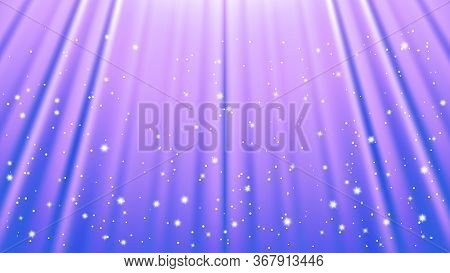 Sunlight Rays Background With Light Effects. Blue Backdrop With Light Of Radiance. Vector Illustrati