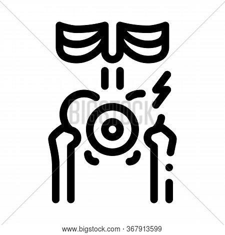 Hip Arthritis Icon Vector. Hip Arthritis Sign. Isolated Contour Symbol Illustration