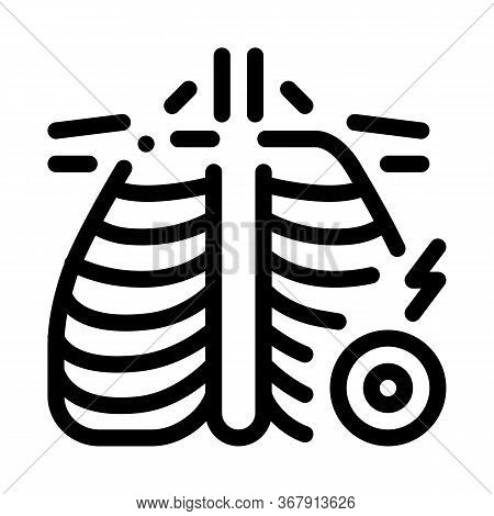 Arthritis Of Rib-sternum Joint Icon Vector. Arthritis Of Rib-sternum Joint Sign. Isolated Contour Sy