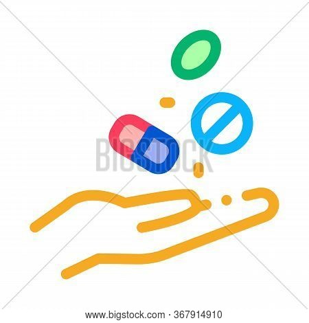 Medical Drugs In Hand Icon Vector. Medical Drugs In Hand Sign. Isolated Contour Symbol Illustration